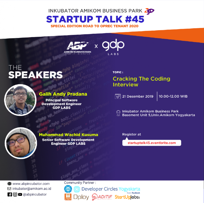 """Special Startup Talk: """"Cracking The Coding Interview"""""""
